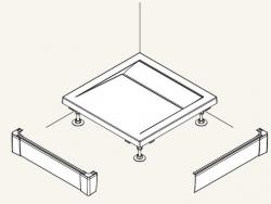 SanSwiss panel přední - L pro obdélníkovou vaničku bílá 900 x 900 mm PWIL09009004 (PWIL09009004)