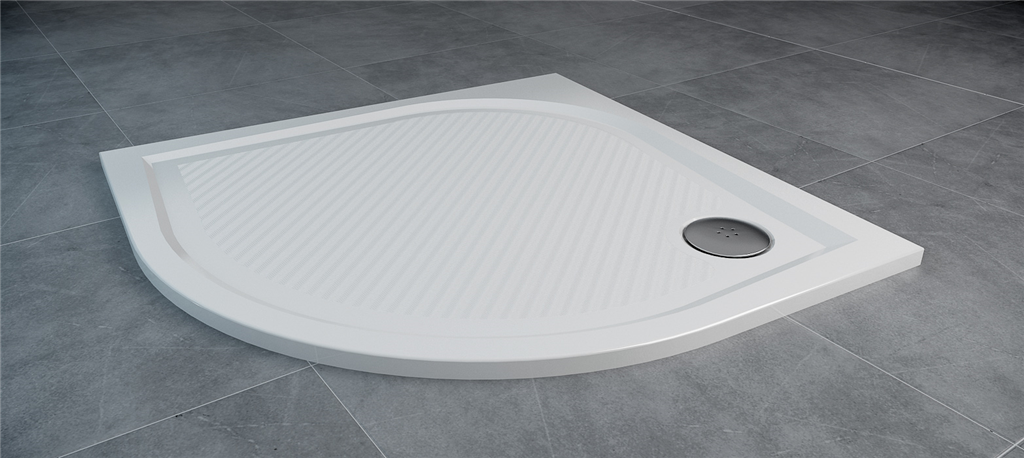SanSwiss MARBLEMATE sprchová vanička bílá,čtvrtkruh R550 80x80x3 cm,800/30, WMR55080004