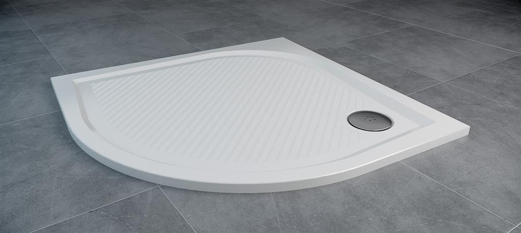 SanSwiss MARBLEMATE sprchová vanička bílá,čtvrtkruh R550 90x90x3 cm,900/30, WMR55090004