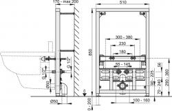 Montážní rám pro bidet - stavební výška 0,85 m ALCAPLAST A105/850 (A105/850), fotografie 2/1