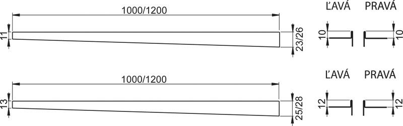 Nerezová lišta pro spádovanou podlahu LEVÁ 1,2m tl.dlažby 10mm, výška lemu 12mm mat ALCAPLAST APZ901M/1200 APZ901M/1200