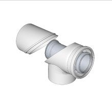 Komín Serio koleno s kontrolním otvorem koaxiální DN125/80  hliník/plast   52103203 (52103203) - BRILON