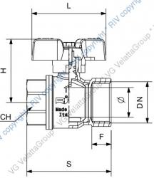 """Ostatní - Kohout kulový DN 15 1/2"""" s motýlem vnitřní F-F plnoprůtokový (422715)"""