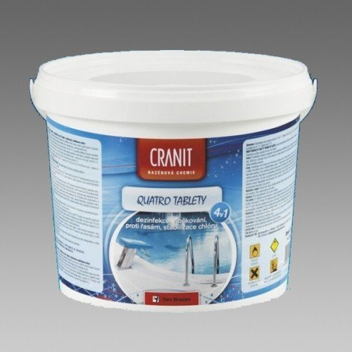 DEN BRAVEN Cranit Quatro tablety 2,4 kg, dezinfekce,proti řasám,stabilizace,vločkování, kbelík, bazénová chemie CH203 CH203