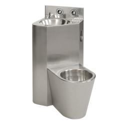 Sanela SLWN 08ZP Antivandalový nerezový set WC s umyvadlem do rohu, závěsné WC vpravo, tlačné ventily, závitové tyče, matné (SL 94084)