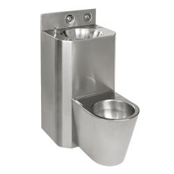 Sanela SLWN 28 Antivandalový nerezový set WC s umyvadlem rovný, WC na zemi, závitové tyče, tlačné ventily, matný (SL 94284)