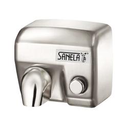Sanela SLO 02M Mechanický osoušeč rukou s nerezovým matným krytem a tlačítkem na čelní straně (SL 79023)