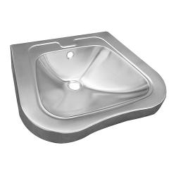 Sanela SLUN 66 Nerezové závěsné umyvadlo pro tělesně handicapované, včetně sifonu, bez otvoru pro baterii (možnost jeho zhotovení), přepad, materiál CrNi 18/10 (AISI-304), povrch matný, vnější rozměr (SL 93660)