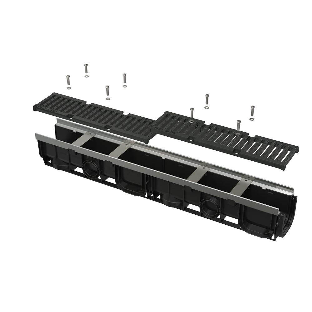 ALCAPLAST Venkovní žlab 1m 100 mm pozinkovaný rám a litinový rošt D400 AVZ103-R201 AVZ103-R201