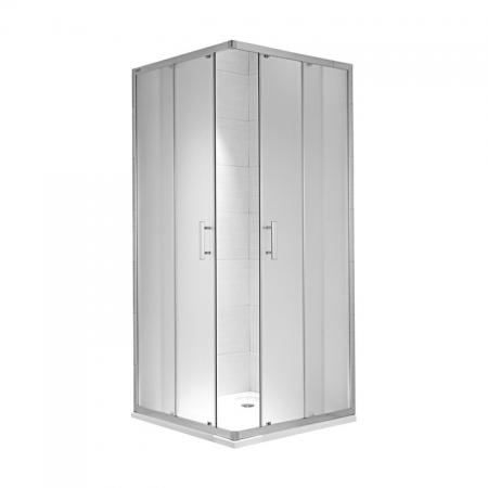 JIKA CUBITO pure spr.kout  80/195, sklo Transparent, čtverec, stříbrný lesklý profil 2.5124.1.002.668.1  H2512410026681 (H2512410026681)