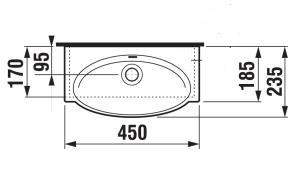 JIKA TIGO umývátko 45x24, bez otvoru 8.1521.2.000.109.1 H8152120001091