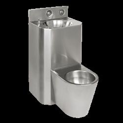 Sanela SLWN 28Z Antivandalový nerezový set WC s umyvadlem rovný, závěsné WC , závitové tyče, tlačné ventily, matný (SL 94283)