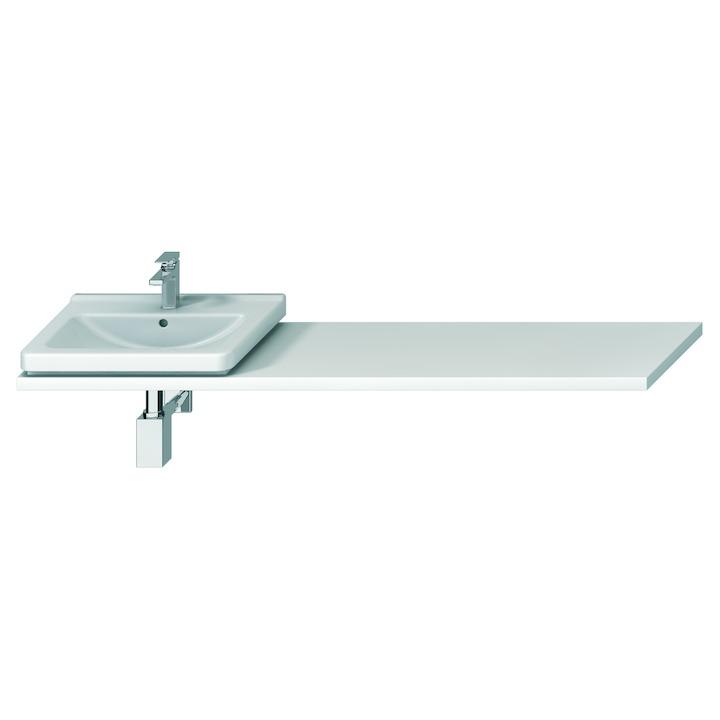 JIKA Cubito-N umyvadlová deska BÍLÁ s 2 výřezy 2200x470x36, řezatelná 1351-2200 H46J4240145001