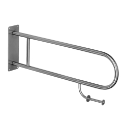 Sanela SLZM 03SDP Nerezové madlo sklopné s držákem toaletního papíru, délka 830 mm, povrch lesklý (SL 39031)