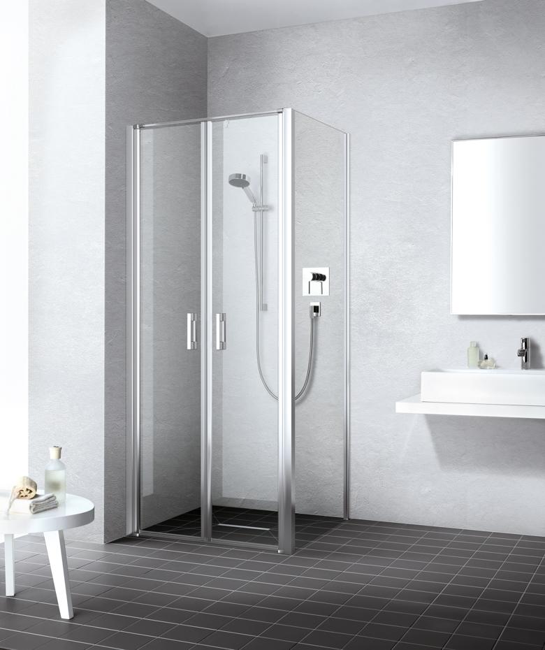 Kermi LIGA sprchové dveře lítačky, stříbrné profily 900/2000mm čiré sklo s CadaClean LIPTD09020VPK LIPTD09020VPK