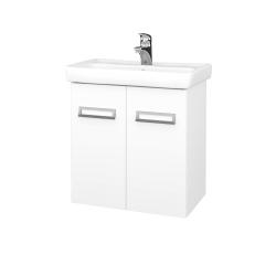 Dřevojas - Koupelnová skříň DOOR SZD2 60 - N01 Bílá lesk / L01 Bílá vysoký lesk (21965)