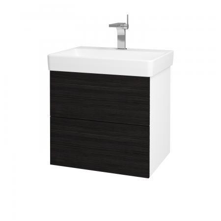 Dřevojas - Koupelnová skříň VARIANTE SZZ2 60 - N01 Bílá lesk / D14 Basalt (163051)