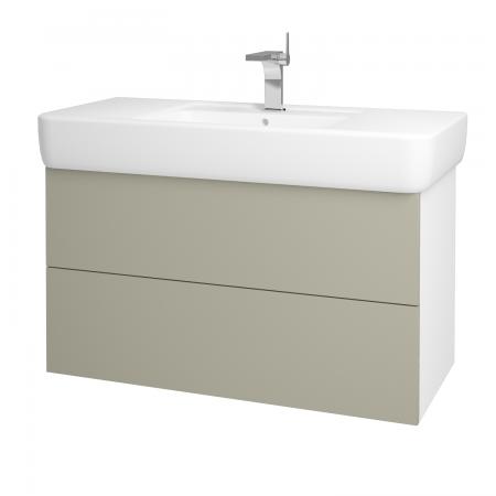 Dřevojas - Koupelnová skříň VARIANTE SZZ2 100 - N01 Bílá lesk / L04 Béžová vysoký lesk (161965)