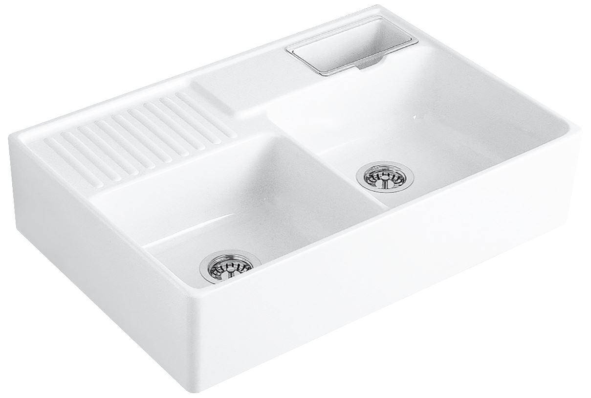 VILLEROY & BOCH Keramický dřez Double-bowl sink Stone white modulový 895 x 630 x 220 bez excentru 632391RW