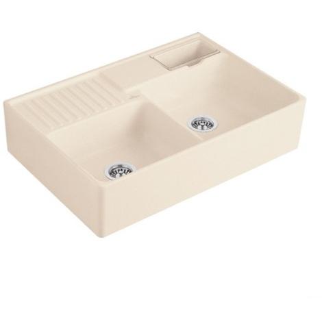 VILLEROY & BOCH Keramický dřez Double-bowl sink Cream modulový 895 x 630 x 220 bez excentru 632391KR