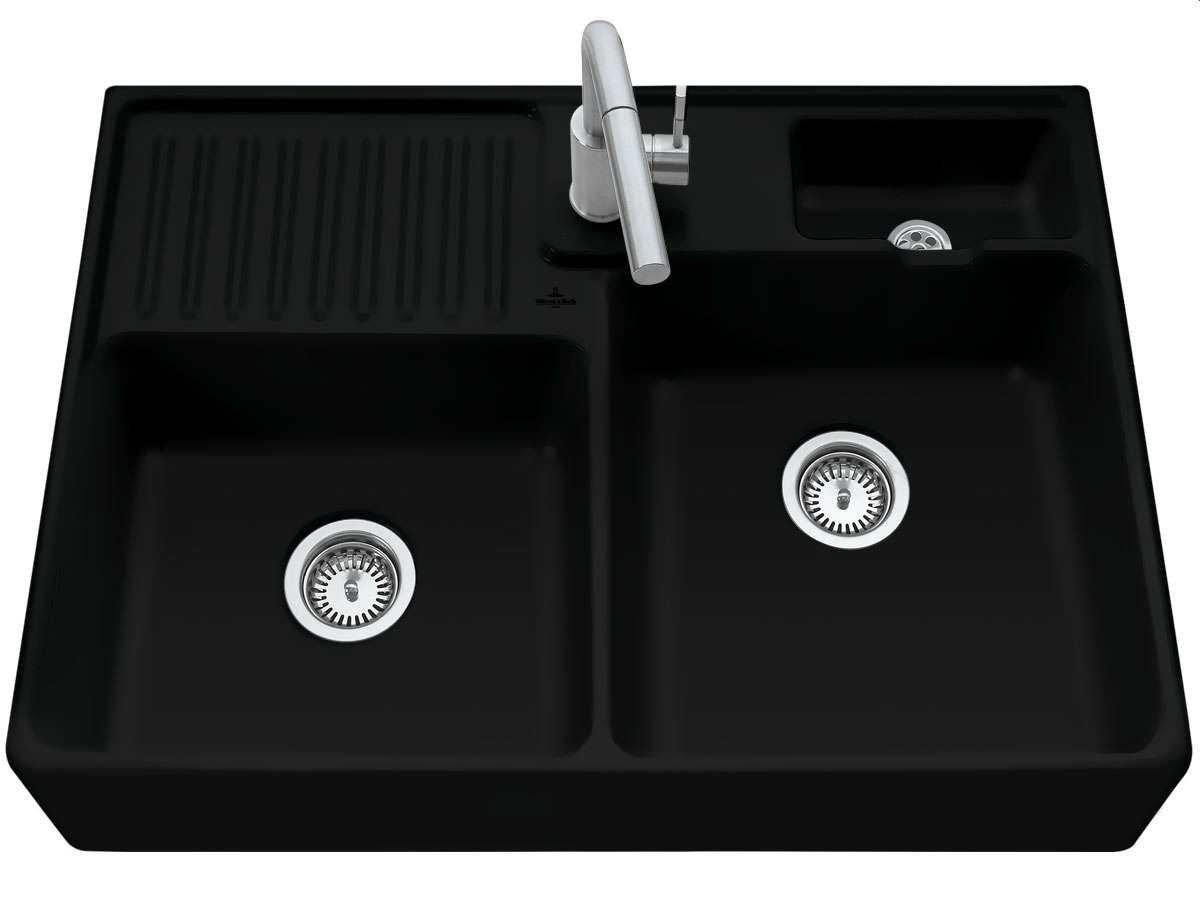 VILLEROY & BOCH Keramický dřez Double-bowl sink Ebony modulový 895 x 630 x 220 bez excentru 632391S5