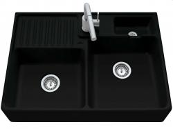 Keramický dřez Double-bowl sink Ebony modulový   895 x 630 x 220 bez excentru (632391S5) - VILLEROY & BOCH