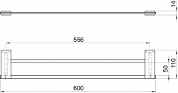 NOVASERVIS - Dvojitý držák ručníků 600 mm Metalia 9 chrom (0925,0), fotografie 4/2