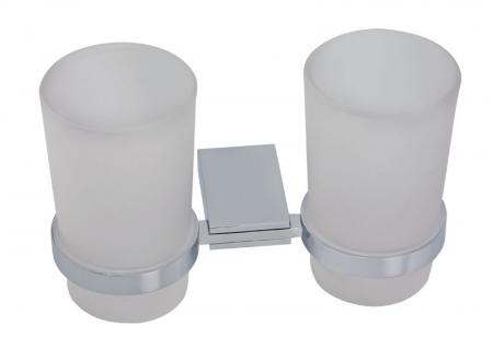NOVASERVIS - Dvojitý držák kartáčků a pasty sklo Metalia 9 chrom (0957,0)