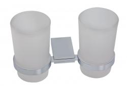 NOVASERVIS - Dvojitý držák kartáčků a pasty sklo Metalia 9 chrom (0957,0), fotografie 2/1
