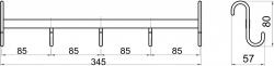 NOVASERVIS - Pětiháček na otopný žebřík Metalia Drátěný program chrom (6002,0), fotografie 4/2
