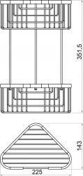 NOVASERVIS - Dvojitá rohová police malá hluboká Drátěný program chrom (6078,0), fotografie 4/2