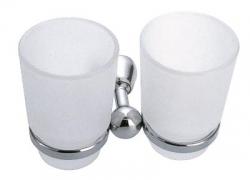 NOVASERVIS - Dvojitý držák kartáčků a pasty sklo Metalia 3 chrom (6357,0)