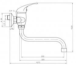 NOVASERVIS - Dřezová umyvadlová baterie 150 mm Titania Iris chrom (92070/T,0), fotografie 2/2