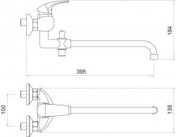 NOVASERVIS - Paneláková baterie bez příslušenství 100 mm Metalia 57 chrom (57037/1,0), fotografie 4/2