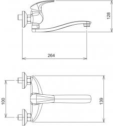 NOVASERVIS - Dřezová umyvadlová baterie 100 mm Metalia 57 chrom (57074,0), fotografie 4/2