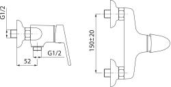 NOVASERVIS - Sprchová baterie 150 mm SMILE chrom (71060,0), fotografie 4/2