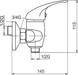 NOVASERVIS - Sprchová baterie 100 mm Metalia 55 bílá-chrom (55064,1), fotografie 2/2