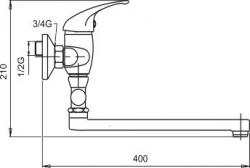 NOVASERVIS - Paneláková baterie bez příslušenství 150 mm Metalia 55 chrom (55072/1,0), fotografie 4/2