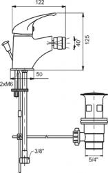 NOVASERVIS - Bidetová baterie s výpustí Metalia 55 chrom (55111,0), fotografie 2/2