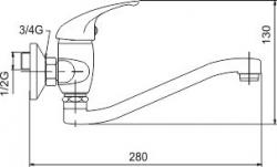 NOVASERVIS - Dřezová baterie 100 mm lékařská páka Metalia 55 chrom (55074L,0), fotografie 2/2