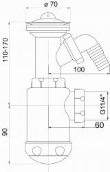 NOVASERVIS - Sifon dřezový s pračkovým vývodem 40 plast (443,PP), fotografie 4/2