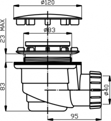 NOVASERVIS - Sifon vaničkový 90/40 INOX plast (475,P), fotografie 4/2