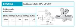 """NOVASERVIS - Kombinovaný roháček s ventilem pro pračku 1/2""""x3/8""""x3/4"""" (CF5104), fotografie 4/2"""