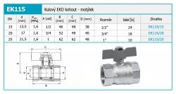 "NOVASERVIS - EKO kulový kohout - MM 1"" (EK115/25), fotografie 4/2"