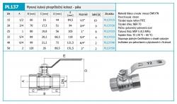 """NOVASERVIS - Plynový kulový kohout MM 3/4"""" (PL137/20), fotografie 4/2"""