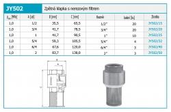 """NOVASERVIS - Zpětná klapka s nerezovým filtrem 1/2"""" (JY502/15), fotografie 4/2"""