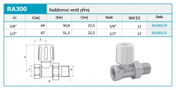 """NOVASERVIS - Radiatorový ventil přímý 1/2"""" (RA300/15), fotografie 4/2"""