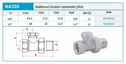 """NOVASERVIS - Radiatorové šroubení uzavíratelné přímé 3/8"""" (RA320/10), fotografie 4/2"""