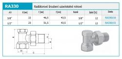 """NOVASERVIS - Radiatorové šroubení uzavíratelné rohové 3/8"""" (RA330/10), fotografie 4/2"""