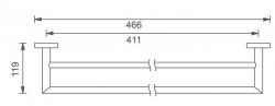 NOVASERVIS - Dvojitý držák ručníků 450 mm Titania Elis chrom (66424,0), fotografie 4/2